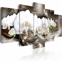 Schilderij - Bruine Illusie - orchidee , wit , 5 luik