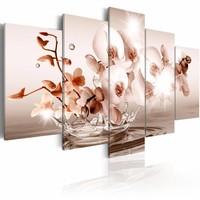 Schilderij - Pure poëzie - orchidee , wit roze , 5 luik
