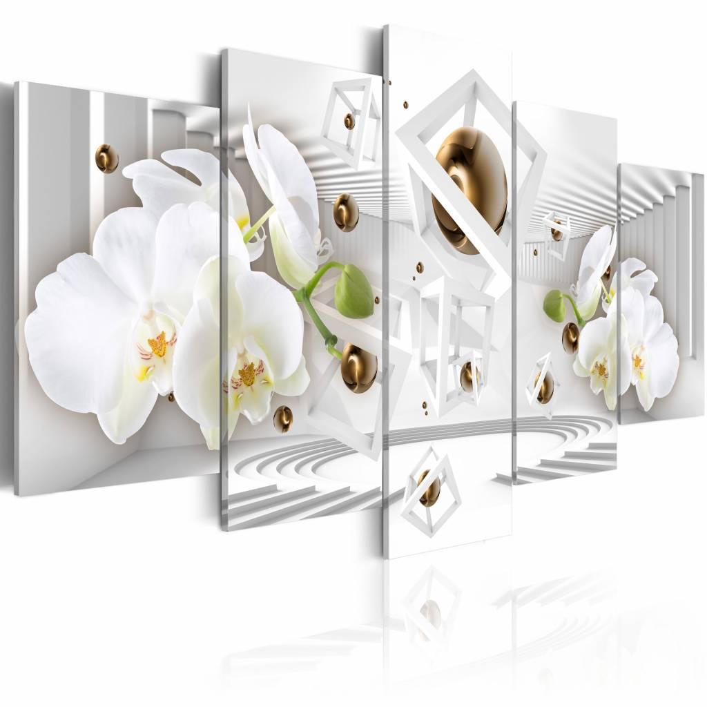 Schilderij - Tempel van wit - Orchidee , 5 luik