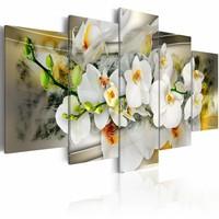 Schilderij - Boeket van de onschuld - Orchidee , geel wit , 5 luik
