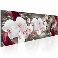 Schilderij - Betoverde kunst - Orchidee , rood wit , 1 luik , 3 maten