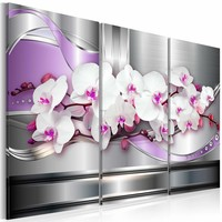 Canvas Schilderij - Lied van de Orchidee , wit lila , zilver look , 3 luik , 2 maten