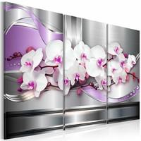 Schilderij - Lied van de Orchidee , wit lila , zilver look , 3 luik , 2 maten