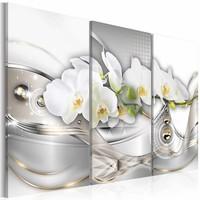 Schilderij - Sensueel Chique - Orchidee , wit zilver look , 3 luik