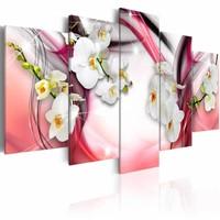 Schilderij - Roze Melody - Orchidee , wit , 5 luik