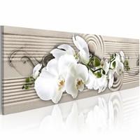 Canvas Schilderij -  Fluisterend Zand - Orchidee 150X50  , beige wit , 1 luik