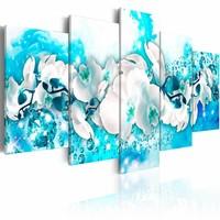 Canvas Schilderij - Orchidee in het blauw , wit , 5 luik , 2 maten
