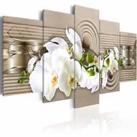 Schilderij - Zand bloem - Orchidee , wit beige  , 5 luik , 2 maten