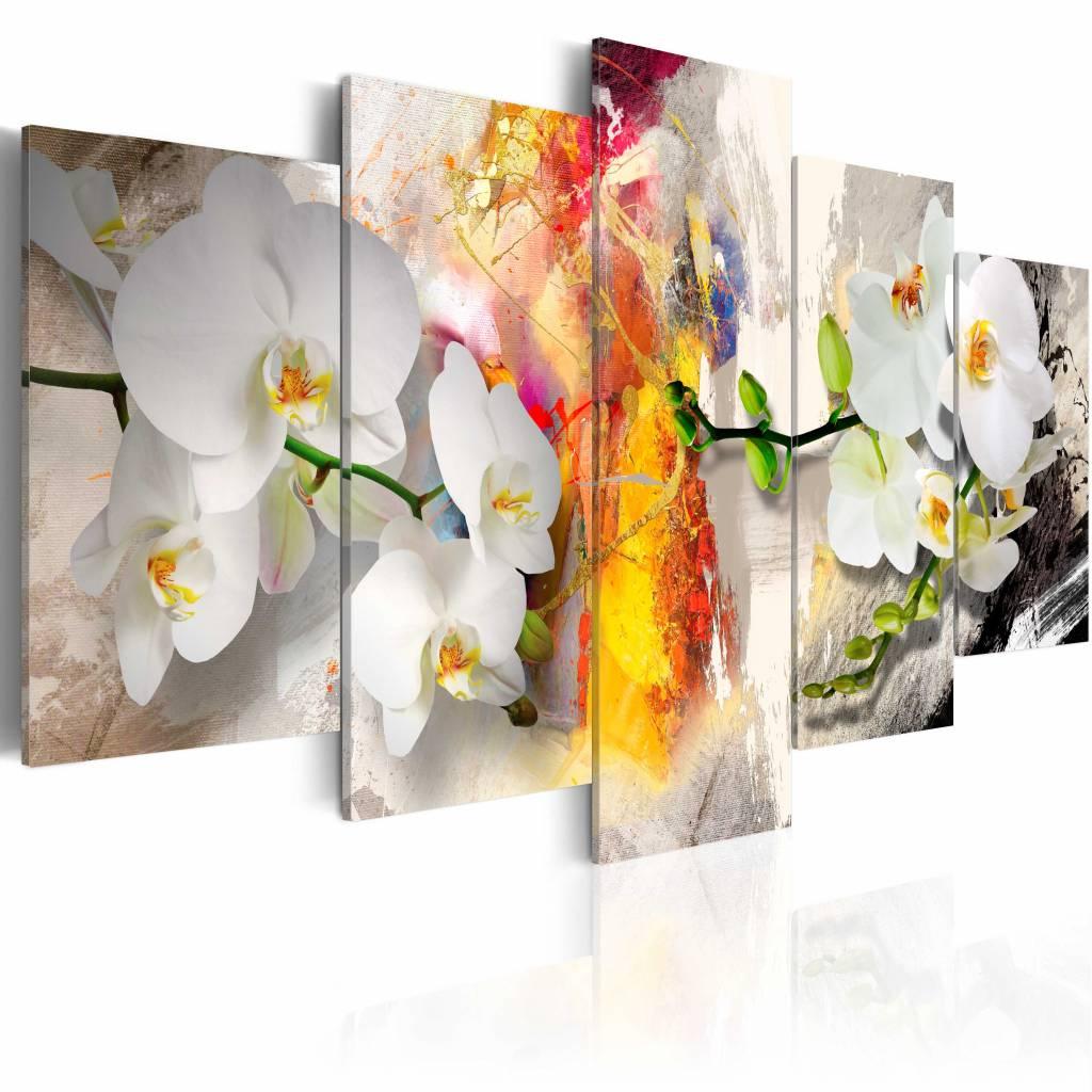 Schilderij - Kleurige Orchidee , wit oranje , 5 luik