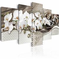 Schilderij - Energiestoot - Orchidee , wit bruin , 5 luik