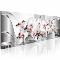 Schilderij - Bloemschikken Orchidee 150X50cm , wit roze , 1 luik