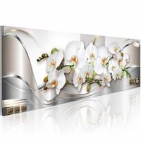 Schilderij - Orchidee , wit zilver look , 1 luik