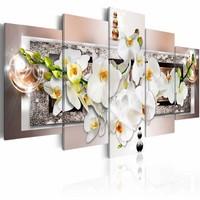 Schilderij - Orchidee in abstractie , wit roze , 5 luik