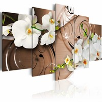 Canvas Schilderij - Ivoren Orchidee , wit bruin , 5 luik , 2 maten