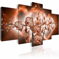 Schilderij - Liefdes Orchidee , oranje bruin , 5 luik