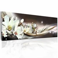 Canvas Schilderij - Zachte Aanraking 150X50 , wit bruin , 1 luik