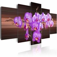 Canvas Schilderij - Bloemen van vreugde - Orchidee , bruin paars , 5 luik , 2 maten
