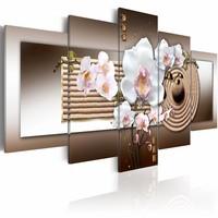 Canvas Schilderij - Orchidee en Zen , wit bruin , 5 luik , 2 maten