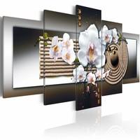 Schilderij - Orchidee en zen, bruin , zilver look , 5 luik