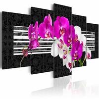Schilderij - Orchidee in roze en wit , 5 luik , 2 maten