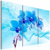 Schilderij - Etherische Orchidee , blauw , 3 luik