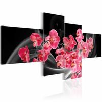 Schilderij - Boeket -Orchidee , rood zwart , 4 luik