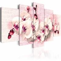 Canvas Schilderij - Metafoor van vrouwelijkheid - Orchidee , wit roze , 5 luik , 2 maten