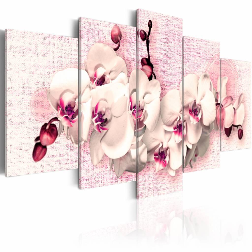 Schilderij - Metafoor van vrouwelijkheid - Orchidee , 5 luik