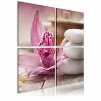 Schilderij - Orchidee en zen , wit roze , 4 luik