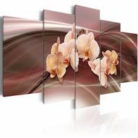 Schilderij - Orchideeën op dynamische lijnen achtergrond , roze bruin , 5 luik