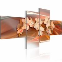 Schilderij - Witte orchideeën op herfstachtige achtergrond , roze , 4 luik , 2 maten