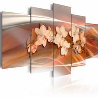 Schilderij - Orchideeën in warme kleuren , 5 luik