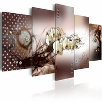 Schilderij - Moderne elegantie , bruin wit , bloem , 5 luik , 2 maten