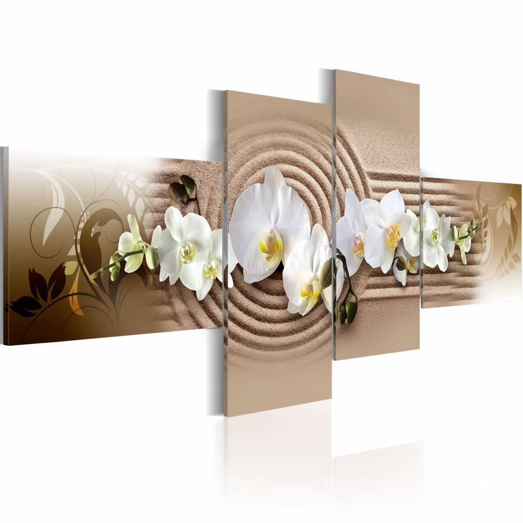Schilderij - Orchidee in zand, Zen , bruin wit , 4 luik