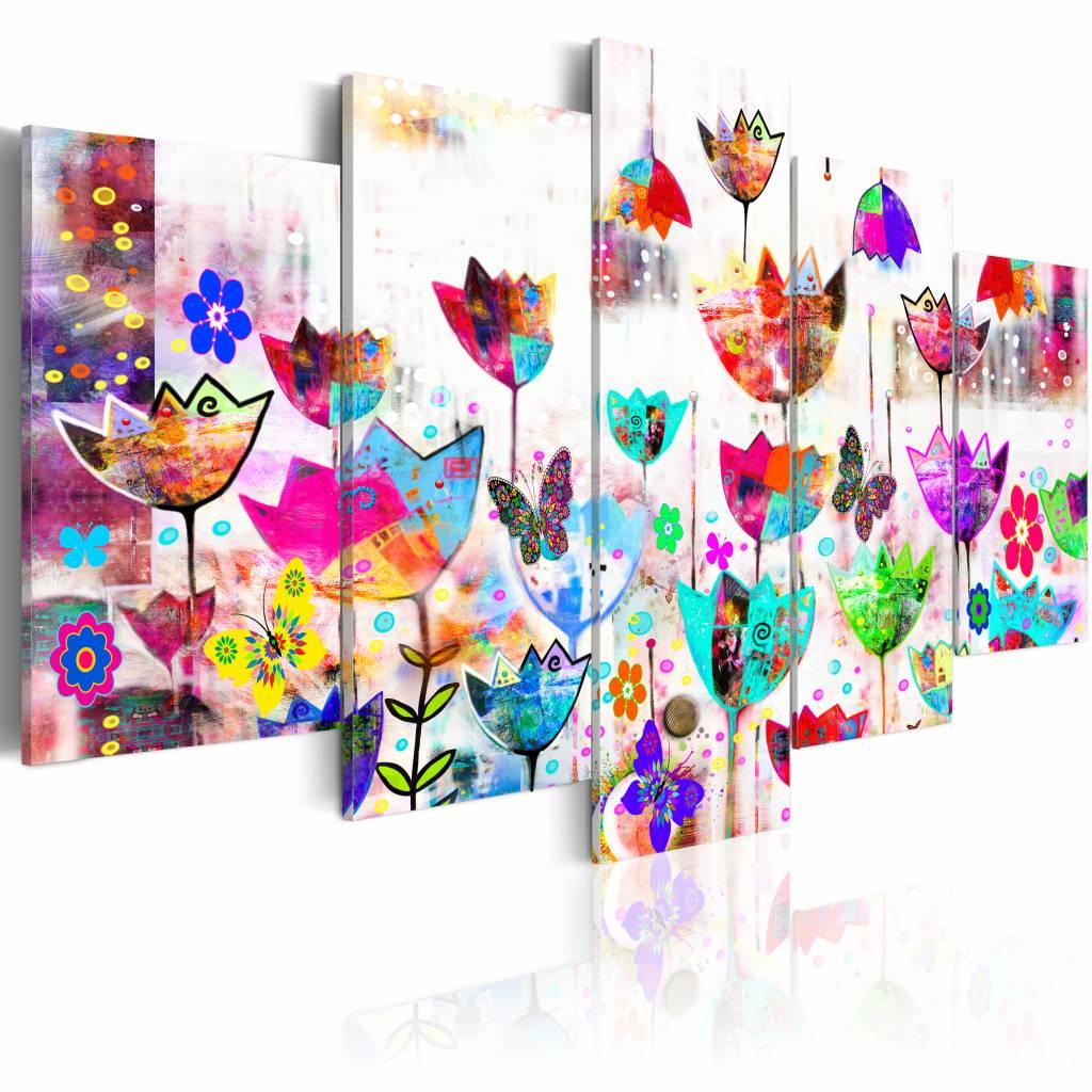 Schilderij - Tulpen in de regen , multi kleur , 5 luik
