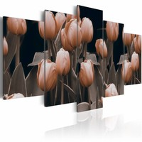 Schilderij - Tulpen in sepia , bloem , 5 luik