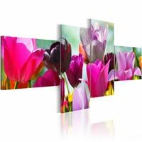 Schilderij - Betovering van roze tulpen , paars , 4 luik