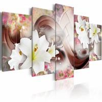 Schilderij - Verhaal van bloemen , wit roze , 5 luik , 2 maten