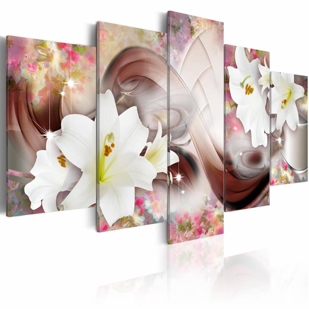 Schilderij - Verhaal van bloemen , wit roze , 5 luik