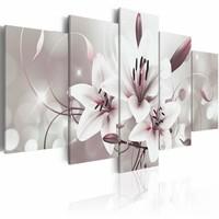Schilderij - Symbool van onschuld , wit roze , 5 luik