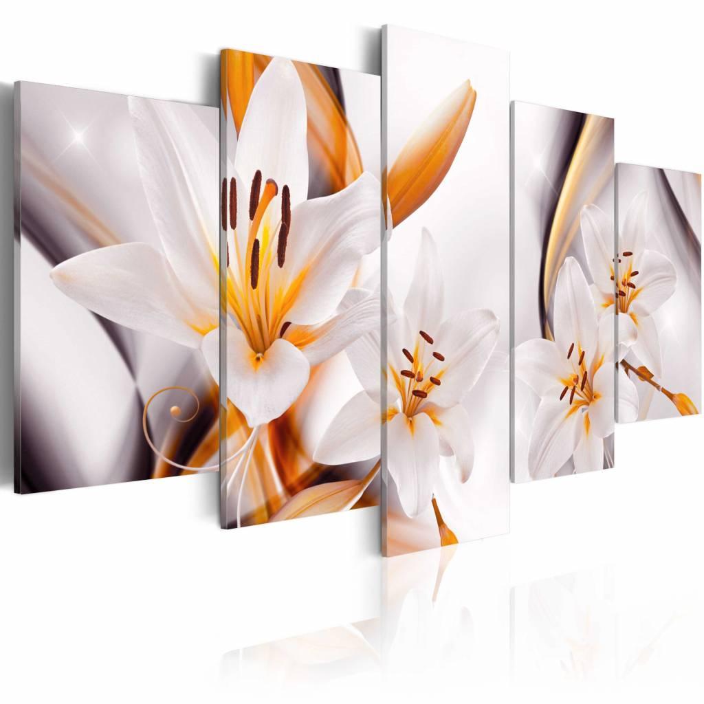 Schilderij - Koninklijke Lelie , wit oranje , 5 luik
