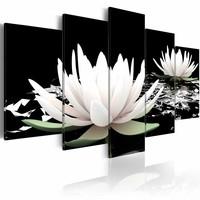 Schilderij - Waterlelie , zwart wit , 5 luik , 2 maten