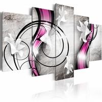 Schilderij - Dans van de lelie , paars grijs , 5 luik