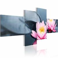 Schilderij - Lelies en zen , roze grijs , 4 luik