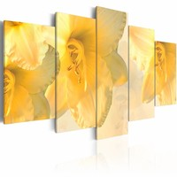 Schilderij - Droom over lelies , geel , 5 luik , 2 maten