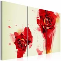 Schilderij -Geschilderde Rozen , wit rood , 3 luik