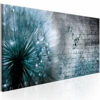 Schilderij - Blauwe Paardenbloem , beton look , 1 luik , 3 maten