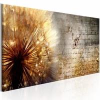 Schilderij - Gouden Paardenbloem , baksteen look