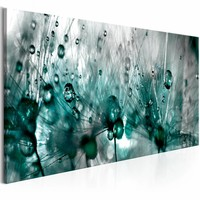 Canvas Schilderij - Besprenkelde Paardenbloem , blauw grijs , 1 luik , 3 maten