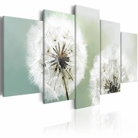 Schilderij - Windstil - Paardenbloem , wit , 5 luik